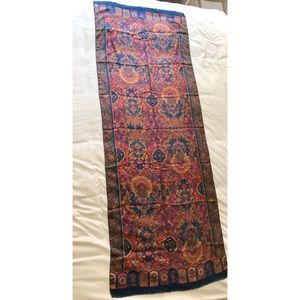 Made for Liberty 100% silk paisley fringe scarf